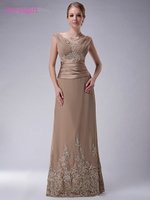 Plus Size 2019 Mother Of The Bride Dresses A line Cap Sleeves Chiffon Lace Beaded Long Elegant Groom Mother Dresses Wedding