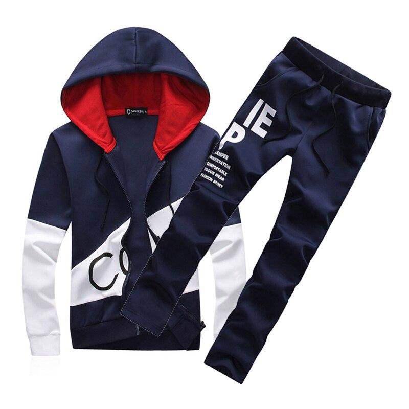 Fashion Men Two Pieces Sets Casual Tracksuit Male 2019 Sweatshirt+Pants Suits Men Plus Size 5XL Hoodies Outfits Set