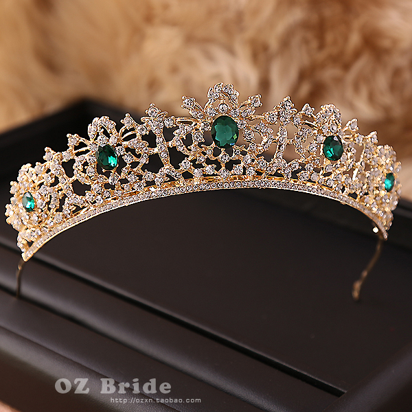 European and American big new micro flaw - dark golden crown rhinestone bridal headdress female