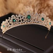 European and American big new micro flaw - dark golden crown rhinestone bridal headdress female