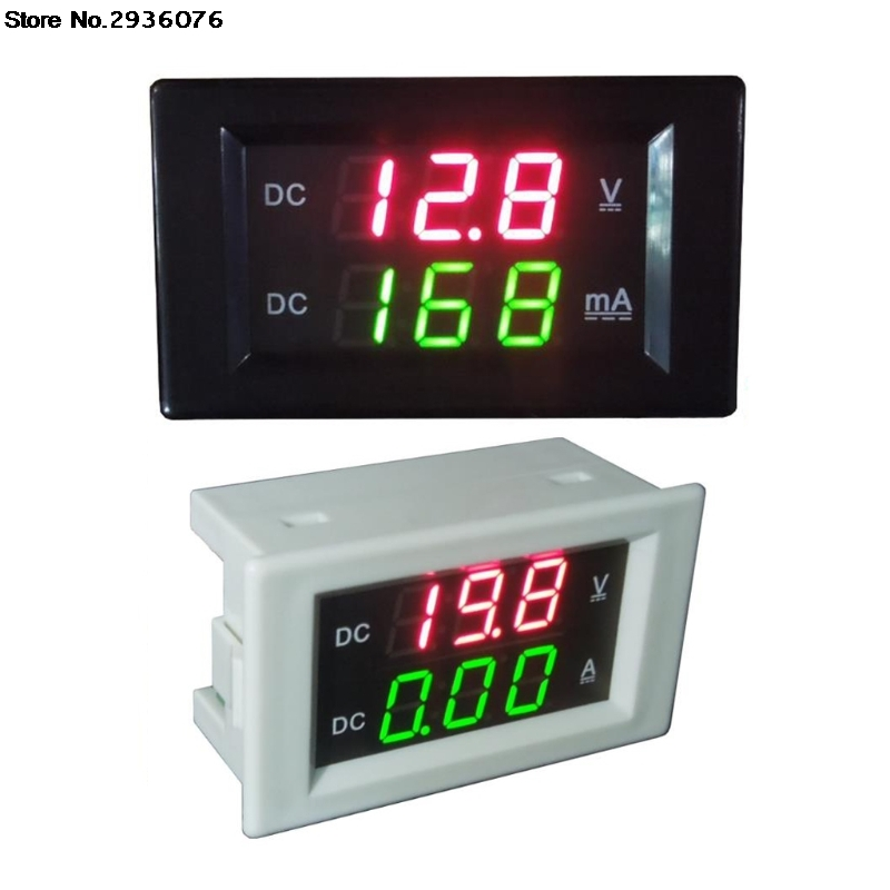 DC 100V 20A Digital Dual Voltmeter Ammeter DC VOLT AMP Tester Gauge With Red And Green Led Independent Power Supply