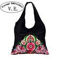 Tendência Nacional do Bordado do vintage Flores Étnicas Bolsas Bordadas Senhoras das Mulheres Grande bolsa de Ombro bolsa de Viagem Bolsa