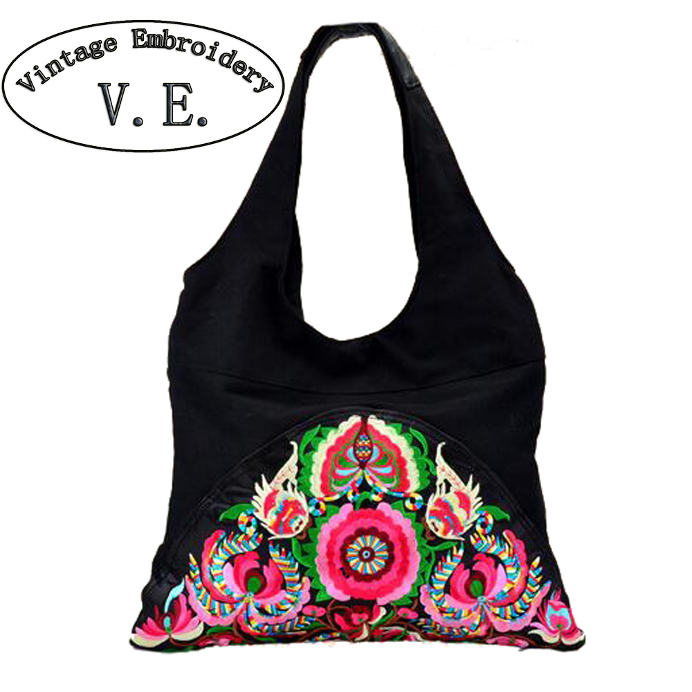 Vintage Embroidery National Trend Ethnic Flowers Embroidered Bags Ladies Women's Big Shoulder Travel Bag Handbag 2016 summer national ethnic style embroidery bohemia design tassel beads lady s handbag meessenger bohemian shoulder bag