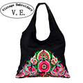 Vintage Embroidery National Trend Ethnic Flowers Embroidered Bags Ladies Women's Big Shoulder Travel Bag Handbag