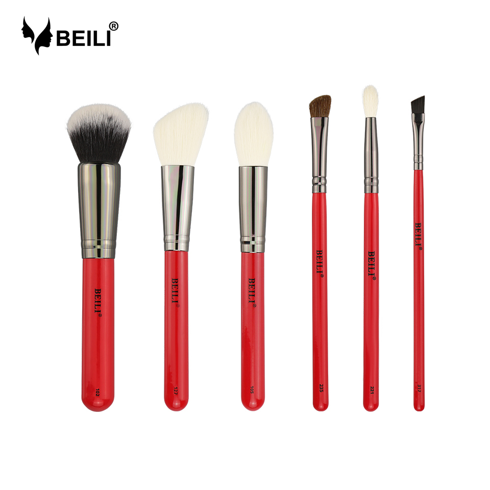 BEILI 6pcs Red Handle Makeupbrush Set Luxe Goat Hair Synthetic Pony Foundation Blusher Eyeshadow Highlighter Eyeliner Crease
