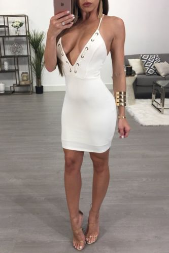 Elegant White Bodycon Dress Women Sleeveless Deep V Neck Summer Sexy Club  Mini Dress Evening Party Vestidos-in Dresses from Women s Clothing on ... 735862b60