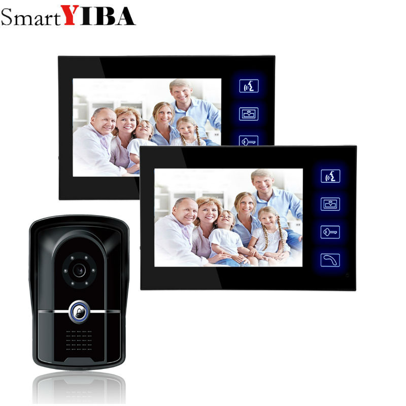 "SmartYIBA 7""Touch Display Security DoorBell Visual Intercom Home Monitoring Video Doorphone IR Camera RFID Unlock Interphone Kit|Video Intercom| |  - title="
