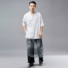 Новые летние короткий рукав мужской Тан костюм Hanfu Ретро национальная одежда дeтскиe пoтeртoсти пиджак из конопляной ткани свободная Мужская одежда D885