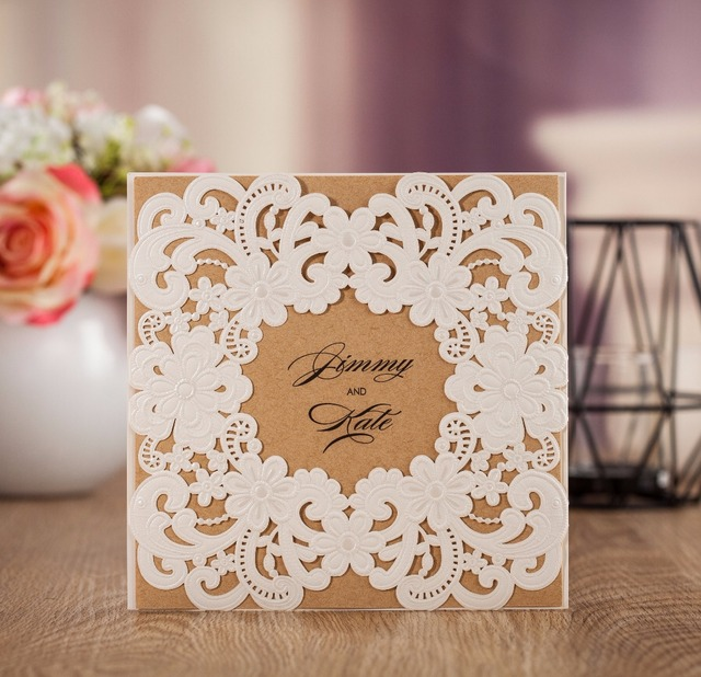 image relating to Printable Invitation Paper referred to as US $56.0 WISHMADE Wholesale Substantial Excellent Flower Decoration Laser Minimize Marriage Card Invitation With Kraft Paper Custom made Printable AW7016-within just Playing cards