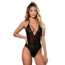 Sexy Women Bodysuit Lace Scallop Black