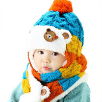 2015 Baby Winter Knit Earflap Hat And Scarf Set Kids Warm Beanies Caps Boys Girls Christmas