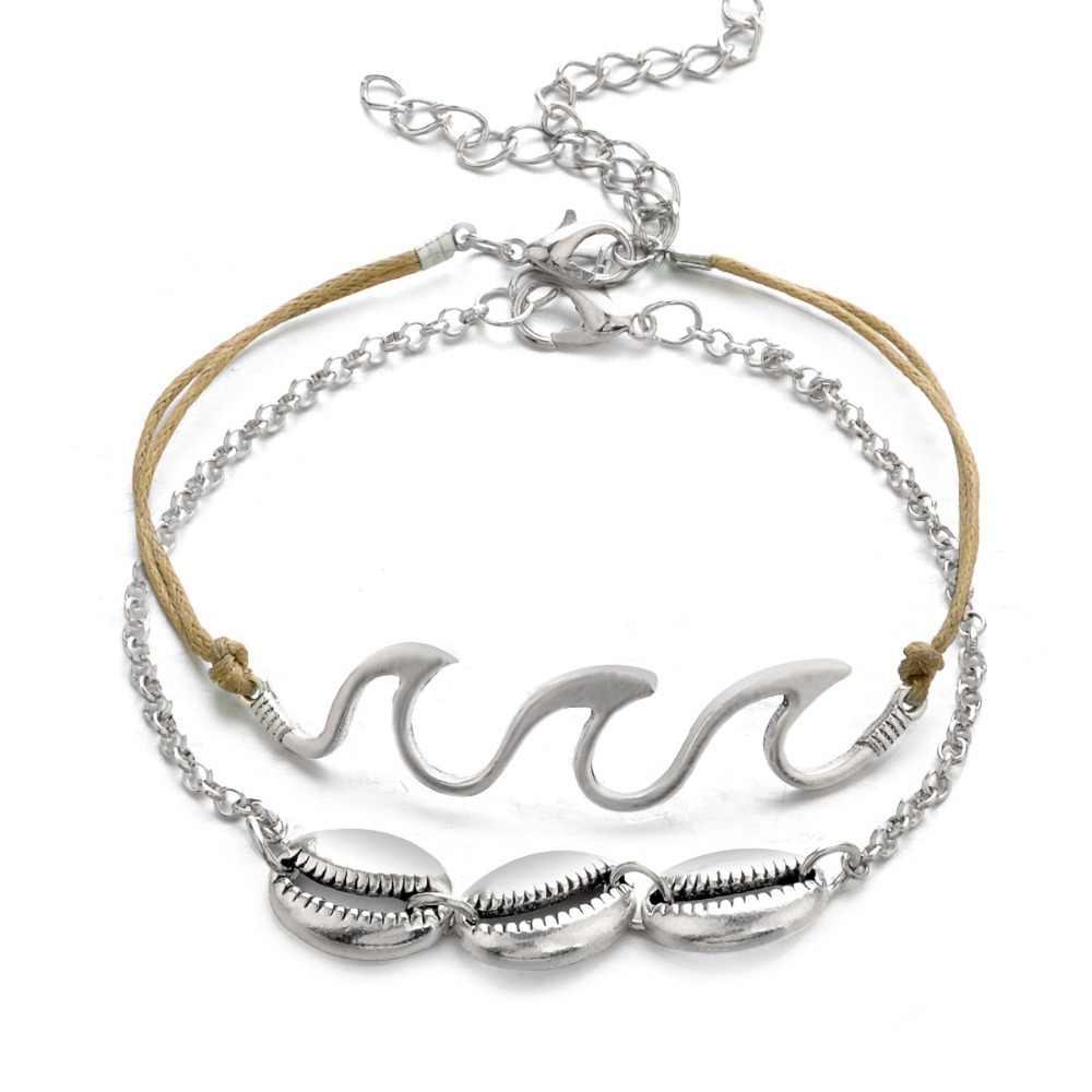 Bohopan moda w stylu Vintage kostki bransoletki dla człowieka podwójna warstwy powłoki Foot biżuteria wysokiej jakości wakacje na plaży srebrny kolor obrączki