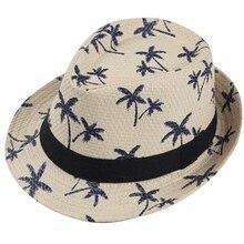 Sombreros de paja de verano para niño sombrero Panamá árbol de coco Jazz  playa visera sombrero 215c9e4a38f