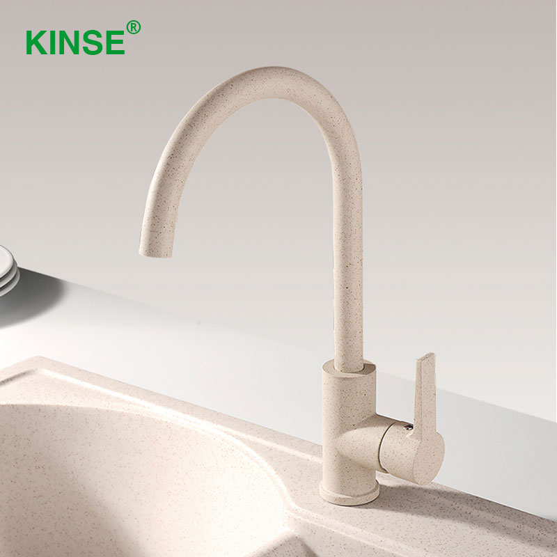 KINSE New Brass Chrome Kitchen Sink Faucet Rotation Art Style Spray Oat Color Kitchen Faucet