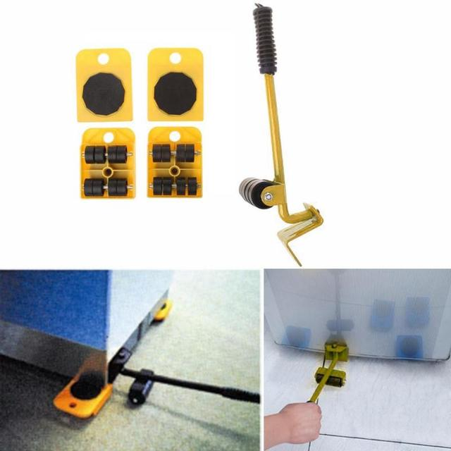 Furniture Mover Tool Set Furniture Transport Lifter Heavy Stuffs Moving Tool 4 Wheeled Mover Roller+1 Wheel Bar Hand Tools Set 2