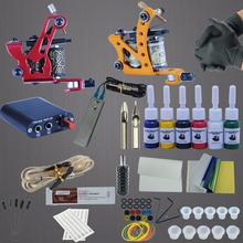 Tattoo Machines Power Box Set 6 Colors Ink Grip Supply Needles Accessories Kits Completed Tattoo Permanent Makeup Kit(China)