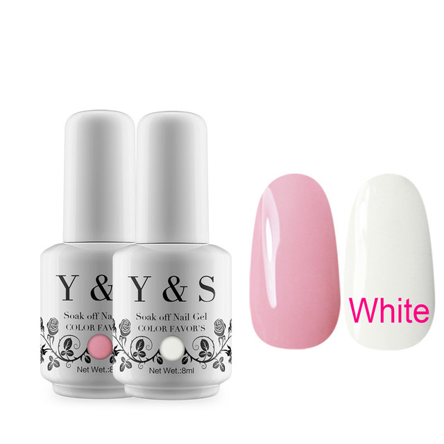 Y S French Manicure Nail Gel Polish White And Pink Colors Hot Uv Soak Off Long