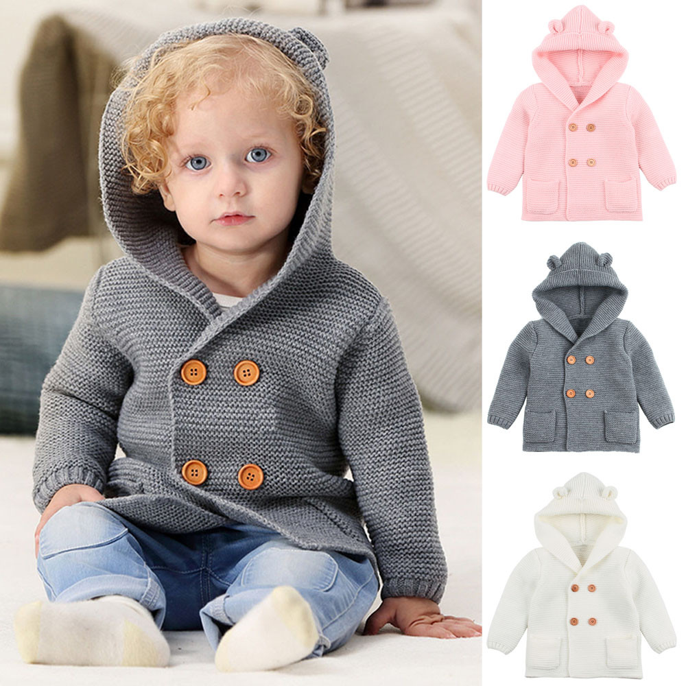 Toddler Baby Boys Girls Solid Color Ears Hooded Knitted Tops Warm Coat Clothes(China)