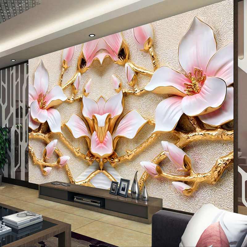 Custom Wall Mural Wallpaper For Walls Roll 3D Relief Flower TV Background Wall Papers Home Decor Living Room Modern Art Painting custom photo wallpaper modern 3d stereoscopic mural bird woods art wallpaper living room tv background wall papers home decor