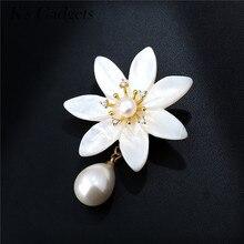 K s Gadgets Big Flower Brooches For Dresses Imitation Pearl Brooch Rhinestone Pins Natural Shell Wedding