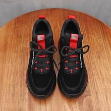 Купить с кэшбэком Designer Athletic Sneakers Leather Women Running Shoes Zapatos Mujer Black Sneakers Female Sport Walking Shoes Women Sport Shoes