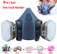 9 In 1 Suit Gas Mask Half Face Respirator Painting Spraying For 3 M 7502 N95