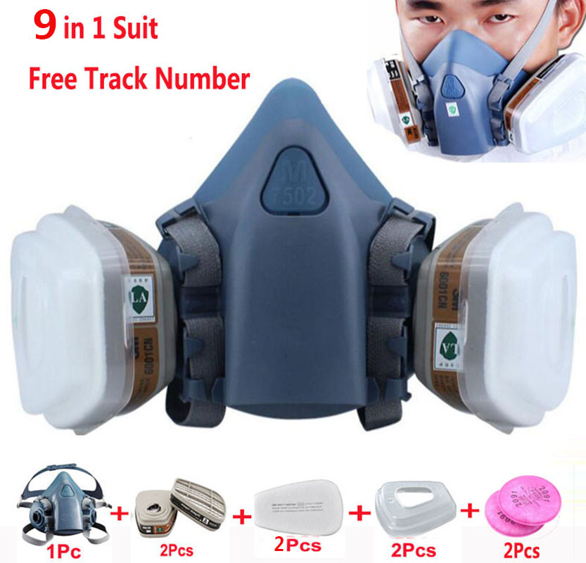 9 In 1 Suit Gas Mask Half Face Respirator Painting Spraying For 3 M 7502 N95 6001cn Dust gas Mask Respirator 7 in 1 7502 half face mask dust gas chemical respirator dual filter for spraying painting organic vapor chemical gas safety