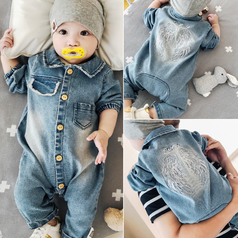 Newborn Baby Girls Rompers Fashion Jeans Long Sleeve Angel Wings Leisure Body Suit Clothing Toddler Jumpsuit Infant Boys Clothes winter newborn bear jumpsuit patchwork long sleeve baby rompers clothes baby boys jumpsuits infant girls clothing overall