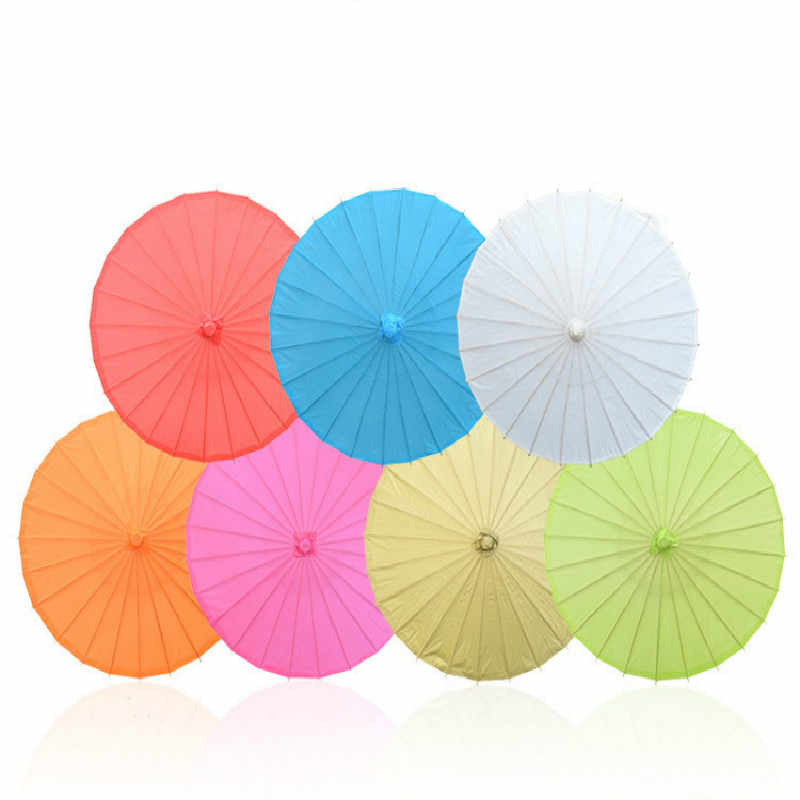 New 20/30/40/60/80cm Handmade Colored Paper Umbrella Traditional Kids DIY Painting Paper Umbrella Decor Arts and Crafts Supplies