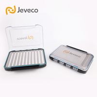 Jeveco Brand 298 76 62mm Plastic Waterproof Double Side Cover Slit Foam Inside Fly Fishing Box