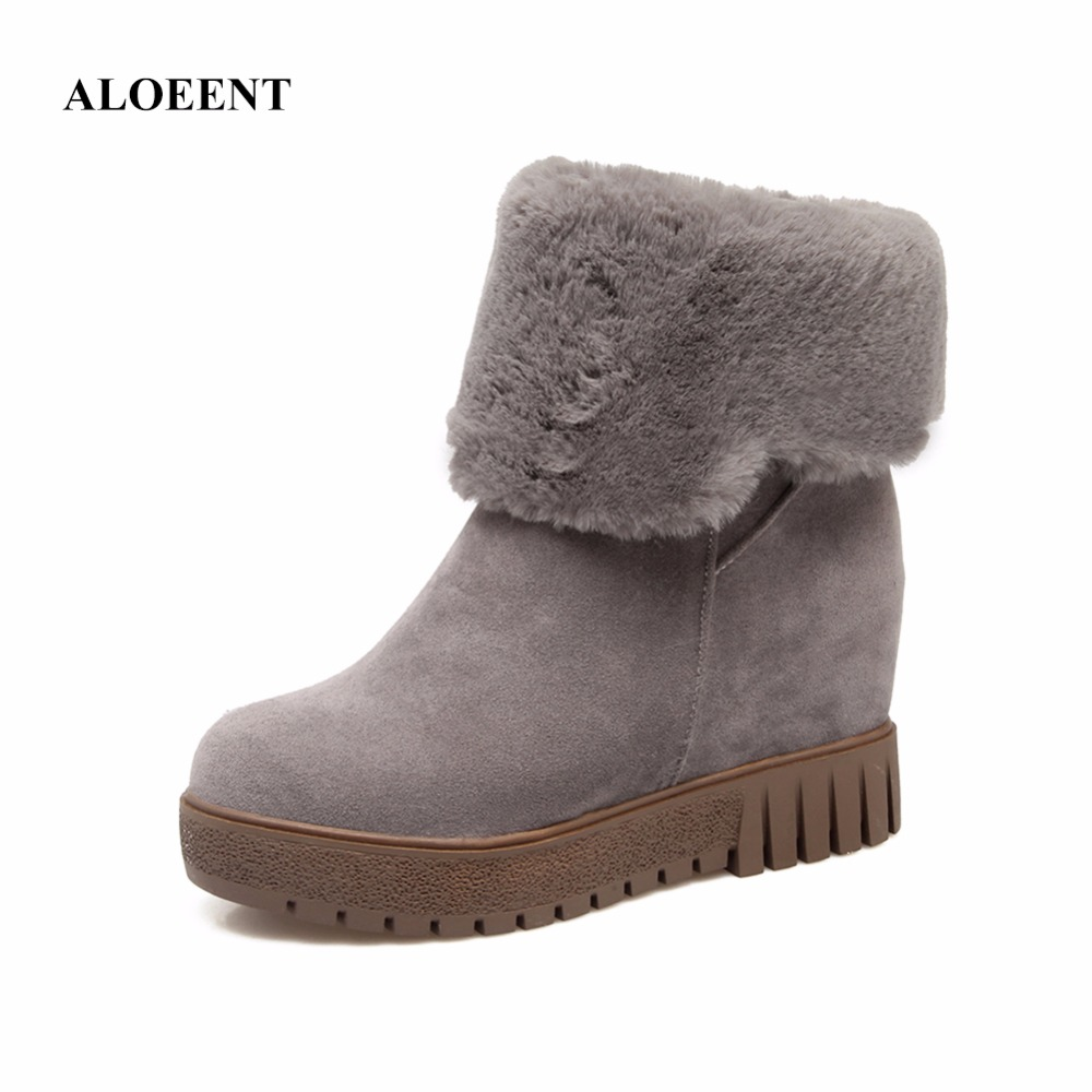ALOEENT Suede Women Snow Boots Mid High Winter Boots Female Warm Flat Shoes недорого