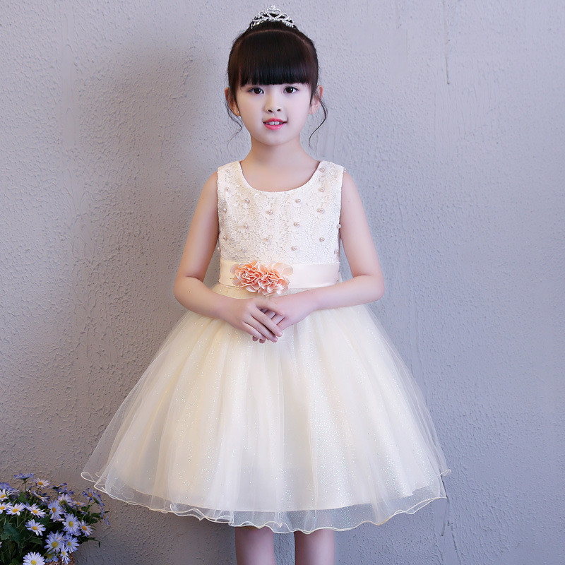 summer flower girls wedding dress lace pearl christening wear dresses for party occasion kids 8 year princess birthday vestido new summer pink children dresses for girls kids formal wear princess dress for baby girl 3 8 year birthday party dress