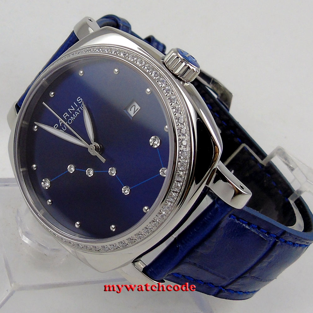 39mm Parnis blue dial diamond Sapphire glass miyota automatic womens watch плед сruise welcom