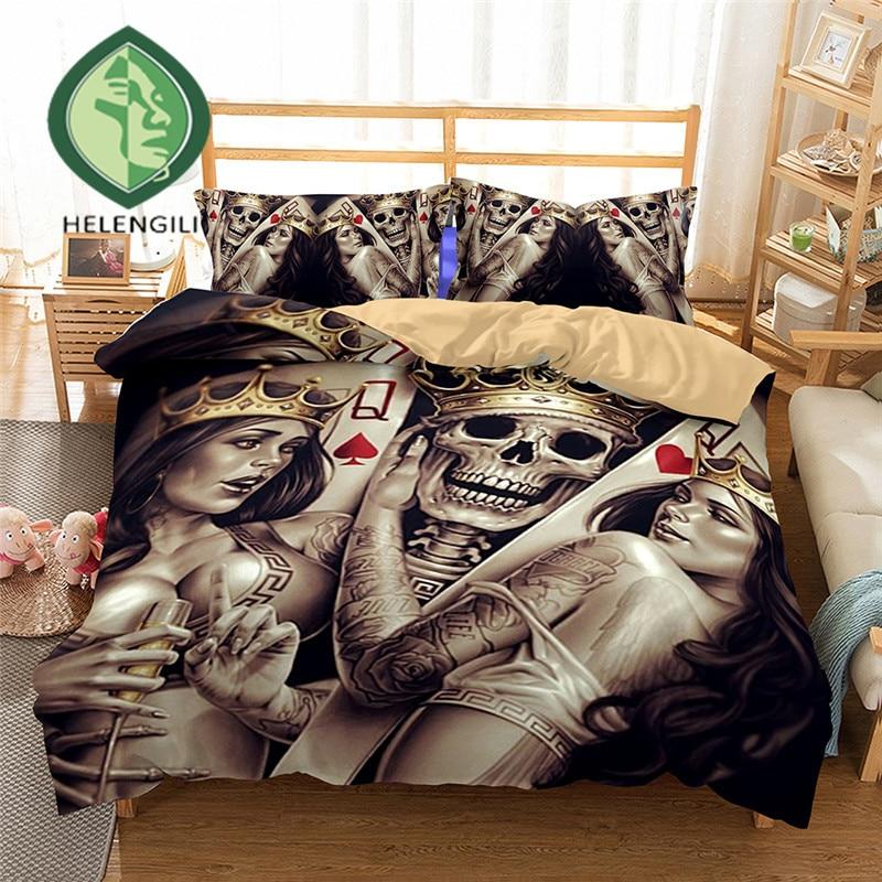 HELENGILI 3D Bedding Set Skull Print Duvet Cover Set Lifelike Bedclothes With Pillowcase Bed Set Home Textiles #2-01