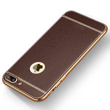 KISSCASE Litchi Grain Case For iPhone XS Max XR PU Leather Cover For iPhone 6 6s 8 7 Plus 5S 5 Soft Silicone Plating Back Fundas(China)