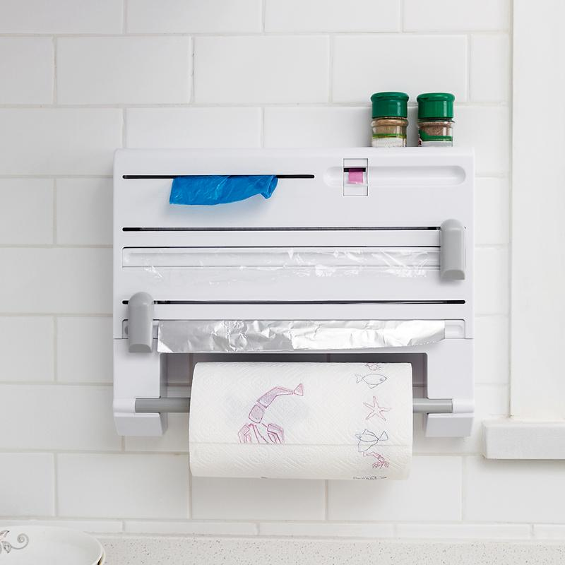 6 in 1 Kitchen Towel Paper Holder Aluminum Film Cutter Wraptastic Dispenser Cutting Foil Cling Wrap Shelf Wall Hang Rack Tool6 in 1 Kitchen Towel Paper Holder Aluminum Film Cutter Wraptastic Dispenser Cutting Foil Cling Wrap Shelf Wall Hang Rack Tool