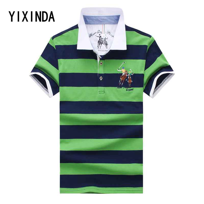 YIXINDA Brand In the summer of 2018, the new men's short-sleeved   polos   and fashionable striped   POLO   shirts are comfortable
