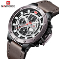 NAVIFORCE Luxus Marke männer Mode Sport Uhr Männer Leder Chronograph Quarz Armbanduhr Automatische Datum Männlich Relogio Masculino Quarz-Uhren Uhren -