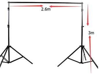 Photographic Equipment 2.6* 3m Manual Quality Aluminum Frame Background Stand