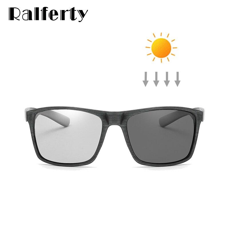 Ralferty HD Polarized Photochromic Sunglasses Men Driver Fishing Sport Goggles Retro Square Chameleon Glasses 2018 New K1046-1