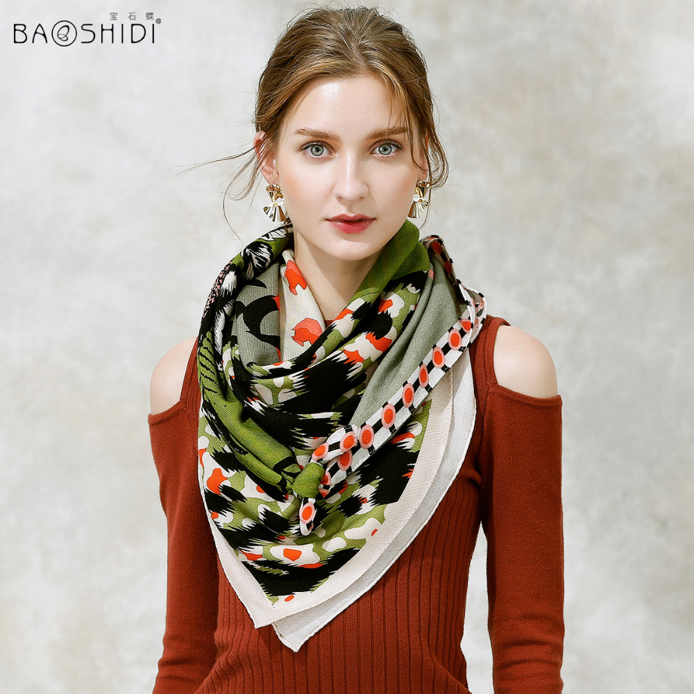 BAOSHIDI 2017 Fashion Cool Design wool scarf luxury brand winter scarves 100 wool fabric top