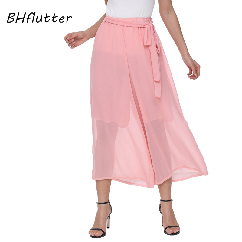 BHflutter 2018 New Fashion Women   Pants   Elastic Waist Brief Casual Summer Capris Solid Color Female Belt Chiffon   Wide     Leg     Pants