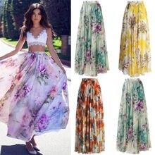 Women Floral Print Chiffon Skirt Ladies Women High Waist Floral Evening Party Long Maxi Skirt Beach Skirt