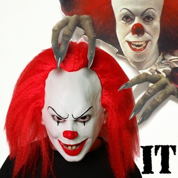 Classic Pennywise Mask Horror Scary Evil Clown Halloween Costume Accessory Killer It Penny Wise New Latex Mask with Red Hair Принцесса Жасмин