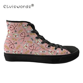 ELVISWORDS Doctor and Nurse Prints Men's Vulcanize Shoes Classic Tenis Feminino For school Teenagers Casual Sneakers Male Shoe