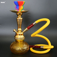 Revive narguile glass hookah complete set yellow shisha golden chicha with silicone nargile head colorful water pipe smoke bowl
