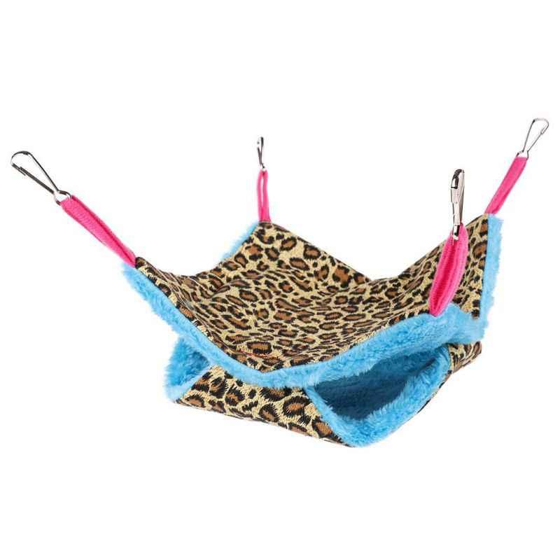 Теплая маленькая подвесная плюшевая двухслойная переноска для хомяка, коврик для кровати для морской свинья-кролик подвесная клетка для кровати аксессуар