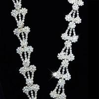 100Yards Diamond Crystal Rhinestone Chain Silver Brass Base Clothing and Bridal Bouquet Embellishments