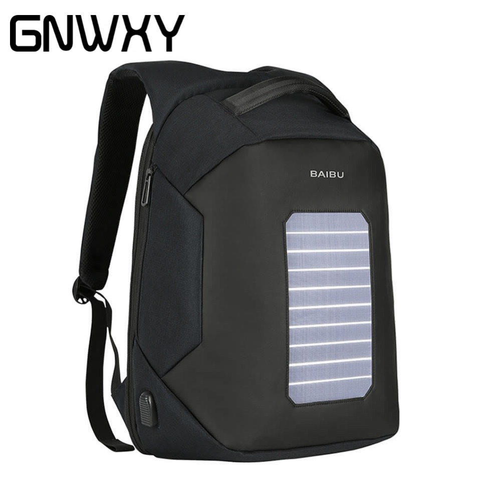 Urban Anti Theft Backpack External USB Charging School Bag Men Laptop Bag Leisure Travel Solar Rechargeable Smart Waterproof