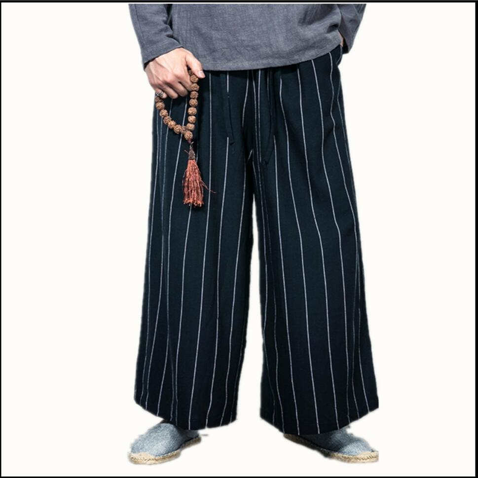 M-3xl Spring And Autumn Men Vintage Loose Straight Pants Chinese Style Fluid Stripe Casual Pants Male Wide Leg Pants Costumes